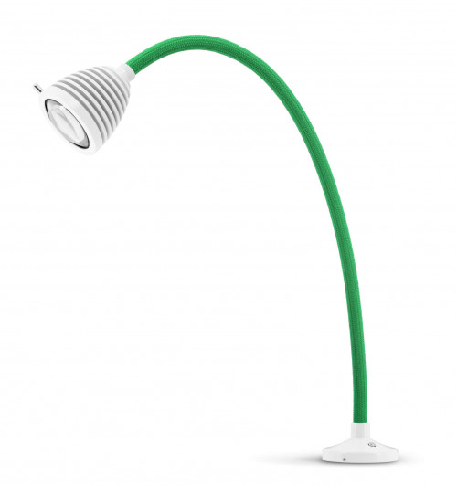 Less'n'more Athene Einbauleuchte A-AL2 weiß, flexibler Arm Textil grün