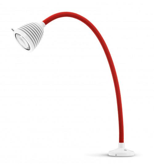 Less'n'more Athene Einbauleuchte A-AL2 weiß, flexibler Arm Textil rot