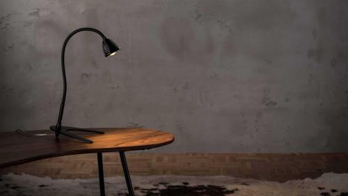 Less'n'more Athene Tischleuchte klein A-TL1 schwarz, flexibler Arm Textil schwarz (Leuchtenfuß in Schwarz auf Anfrage)