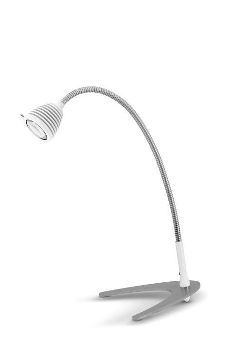 Less'n'more Athene Tischleuchte klein A-TL1 weiß, flexibler Arm Aluminium
