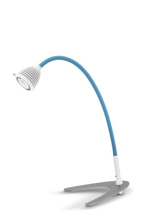 Less'n'more Athene Tischleuchte klein A-TL1 weiß, flexibler Arm Textil blau