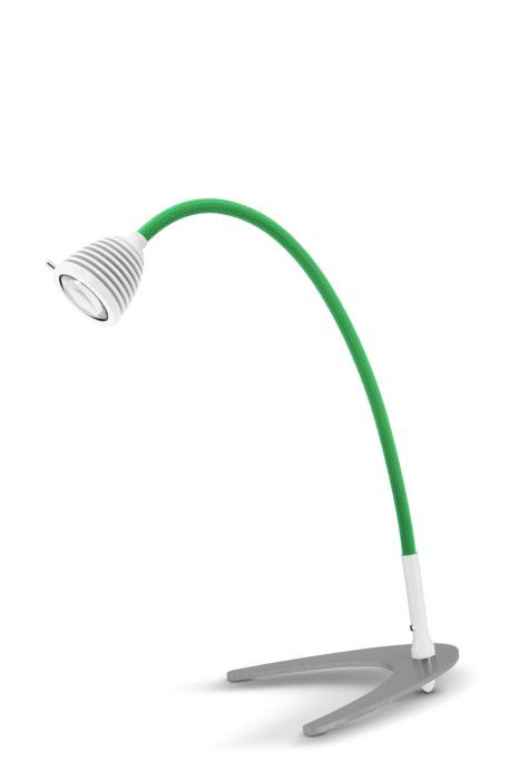 Less'n'more Athene Tischleuchte klein A-TL1 weiß, flexibler Arm Textil grün