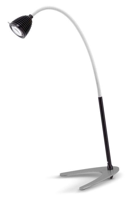 Less'n'more Athene Tischleuchte groß A-TL2 schwarz, flexibler Arm Textil weiß