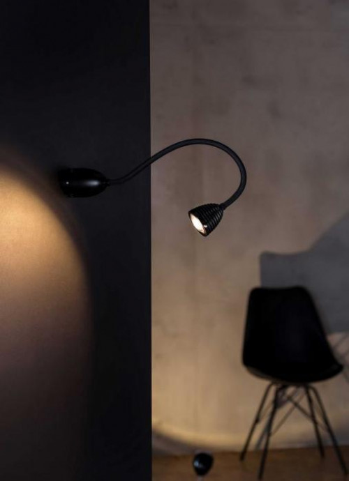 Less'n'more Athene Wand- / Deckenleuchte A-BDL2 schwarz, flexibler Arm Textil schwarz