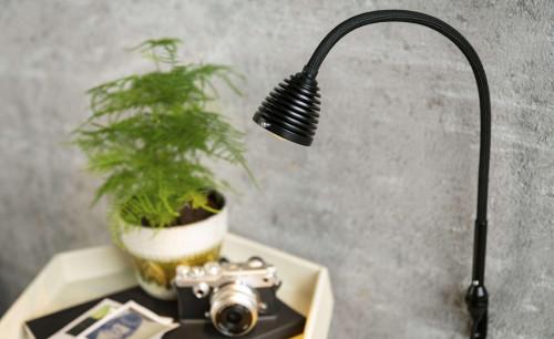 Less'n'more Athene Wandleuchte klein A-WL1 schwarz, flexibler Arm Textil schwarz (Wandhalterung in Schwarz auf Anfrage)
