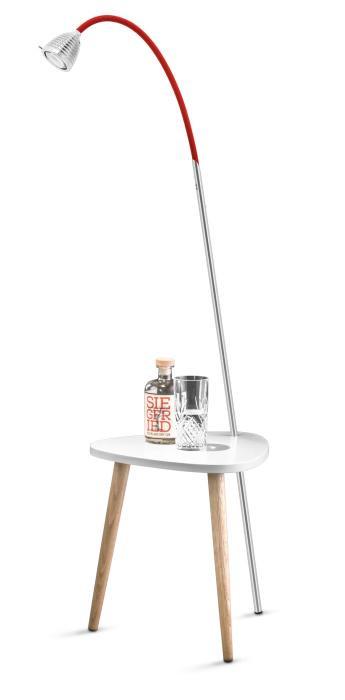 Less'n'more Ringelnatz Athene Tisch RI-A Aluminium, flexibler Arm Textil rot