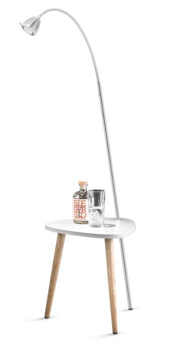 Less'n'more Ringelnatz Athene Tisch RI-A Aluminium, flexibler Arm Textil weiß