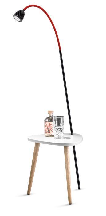 Less'n'more Ringelnatz Athene Tisch RI-A schwarz, flexibler Arm Textil rot