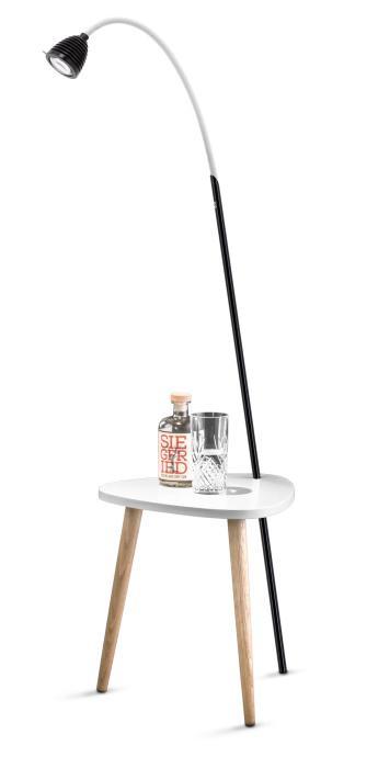 Less'n'more Ringelnatz Athene Tisch RI-A schwarz, flexibler Arm Textil weiß