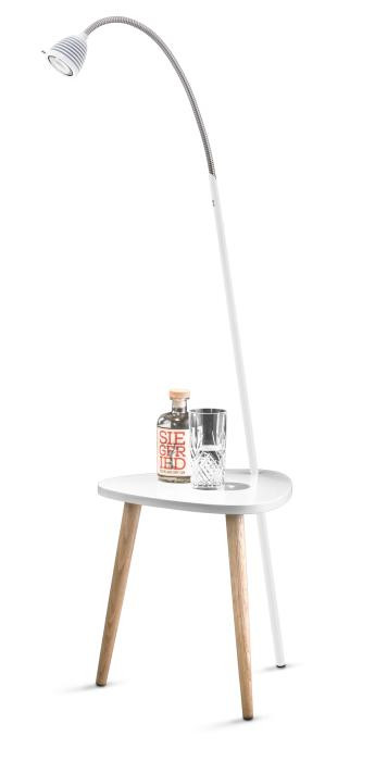 Less'n'more Ringelnatz Athene Tisch RI-A weiß, flexibler Arm Aluminium