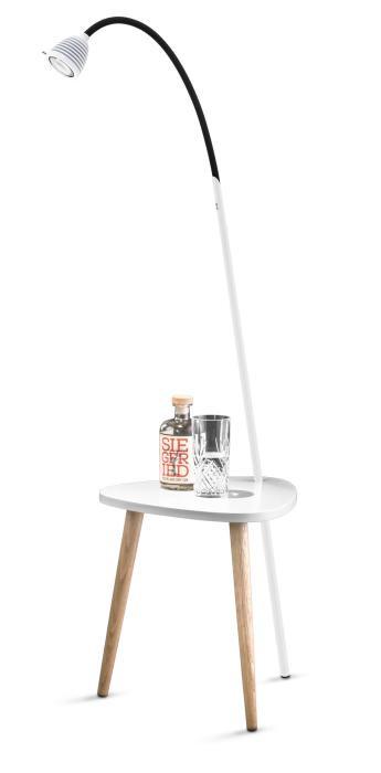 Less'n'more Ringelnatz Athene Tisch RI-A weiß, flexibler Arm Textil schwarz
