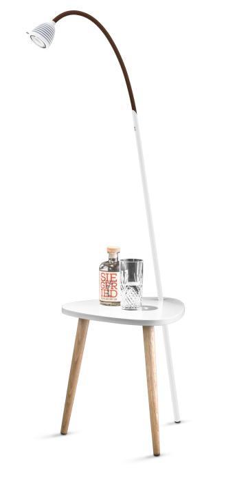 Less'n'more Ringelnatz Athene Tisch RI-A weiß, flexibler Arm Textil braun