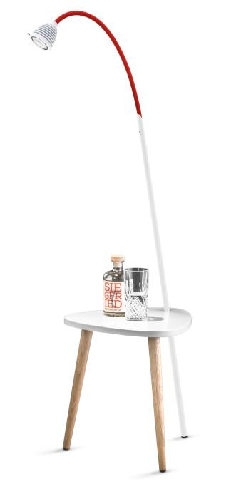 Less'n'more Ringelnatz Athene Tisch RI-A weiß, flexibler Arm Textil rot