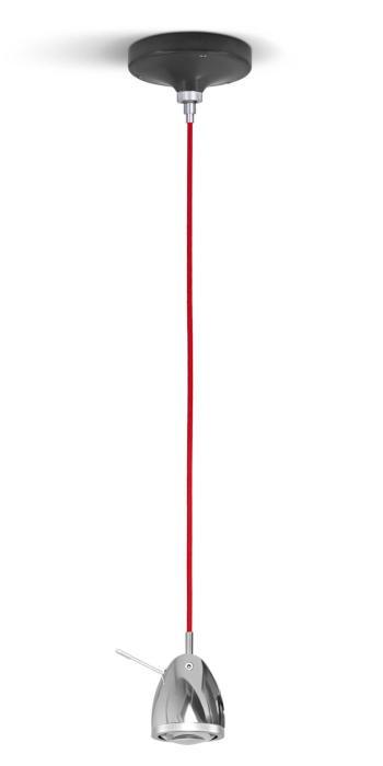 Less'n'more Ylux Pendelleuchte Kopf Aluminium poliert, Baldachin grau, Kabel rot