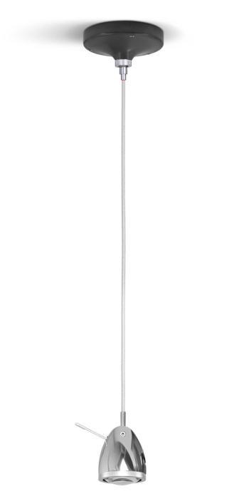 Less'n'more Ylux Pendelleuchte Kopf Aluminium poliert, Baldachin grau, Kabel weiß