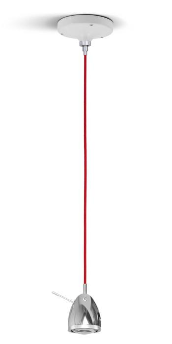 Less'n'more Ylux Pendelleuchte Kopf Aluminium poliert, Baldachin weiß, Kabel rot