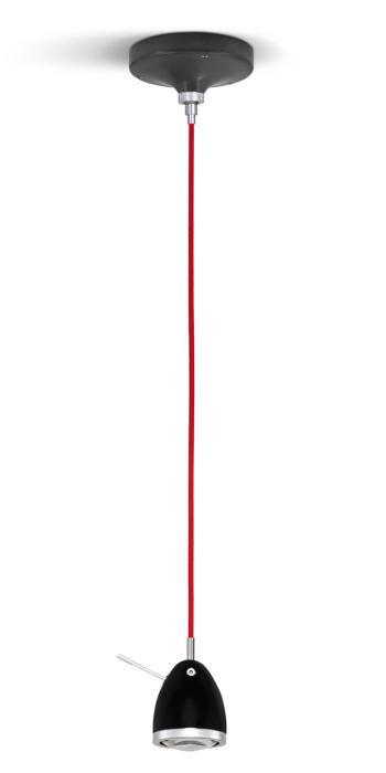 Less'n'more Ylux Pendelleuchte Kopf schwarz matt, Baldachin grau, Kabel rot