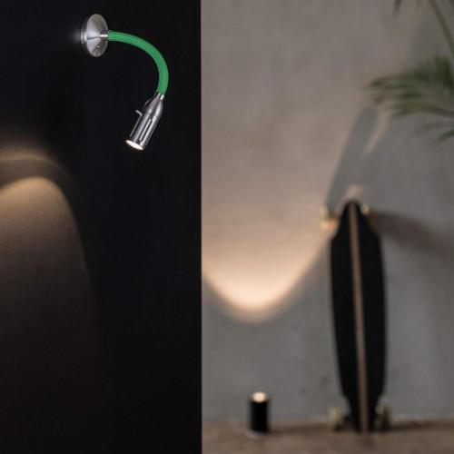 Less'n'more Zeus Aufbau- / Einbauleuchte Z-AL1 Aluminium, flexibler Arm Textil grün
