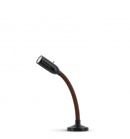 Less'n'more Zeus Aufbau- / Einbauleuchte Z-AL1 schwarz, flexibler Arm Textil braun