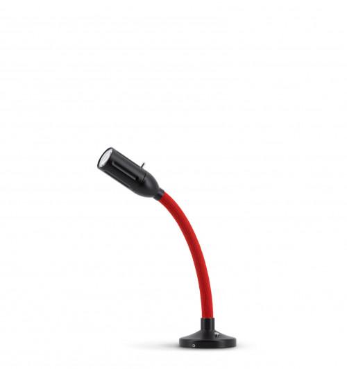 Less'n'more Zeus Aufbau- / Einbauleuchte Z-AL1 schwarz, flexibler Arm Textil rot
