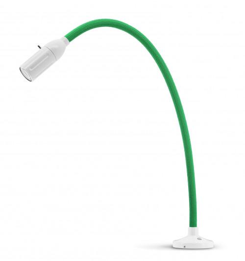 Less'n'more Zeus Aufbau- / Einbauleuchte Z-AL2 weiß, flexibler Arm Textil grün