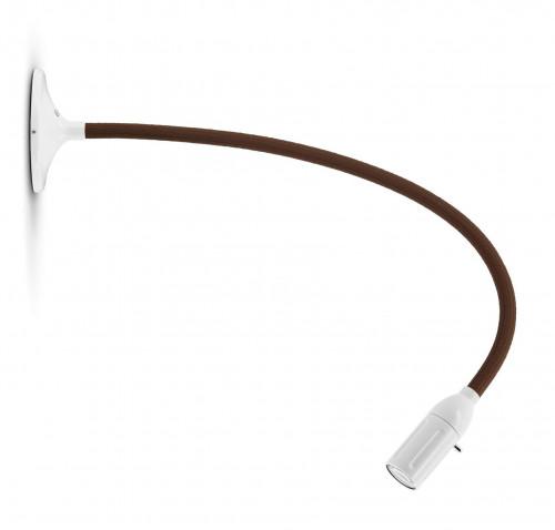 Less'n'more Zeus Wand- / Deckenleuchte Z-MDL2 weiß, flexibler Arm Textil braun