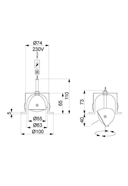 Less'n'more Mimix Beton Einbaustrahler Grafik (rechts für rahmenlosen Einbau in Hohlraumwand)