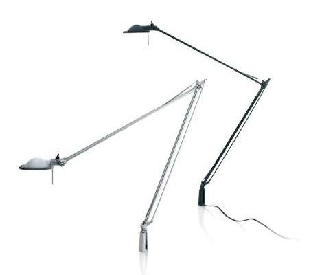 Luceplan Berenice Tavolo Befestigungsstift Aluminium Reflektor weiß und schwarz Reflektor schwarz
