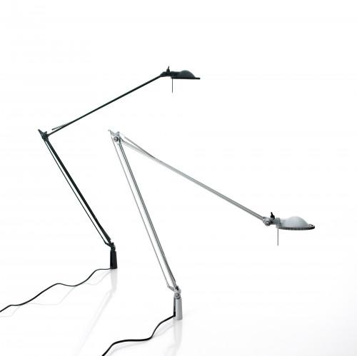 Luceplan Berenice Tavolo Befestigungsstift schwarz Reflektor schwarz und Aluminium Reflektor weiß