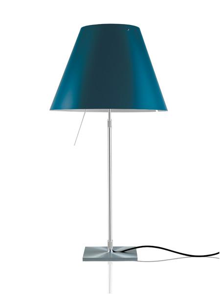 Luceplan Costanza Tischleuchte blau Gestell Alu