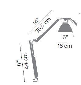 Luceplan Fortebraccio Tisch- und Wandleuchte Körper Grafik