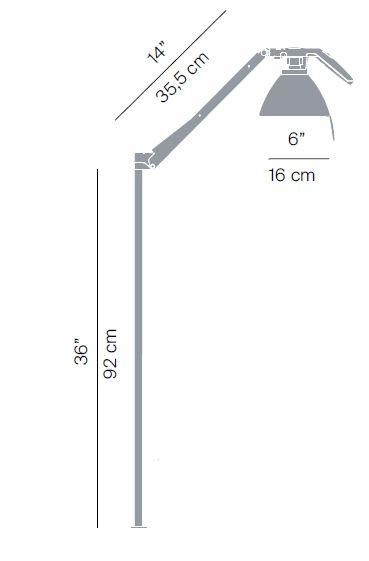 Luceplan Fortebraccio Stehleuchte Körper Grafik