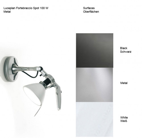 Luceplan Fortebraccio Spot 100 W Oberflächen