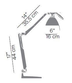 Luceplan Fortebraccio Tischleuchte mit Schalter Grafik