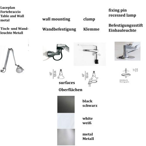 Luceplan Fortebraccio Tisch- und Wandleuchte Ausführungen und Oberflächen