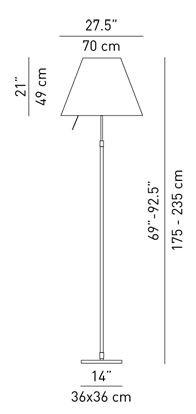 Luceplan Grande Costanza Stehleuchte Teleskopstange Schalter Grafik