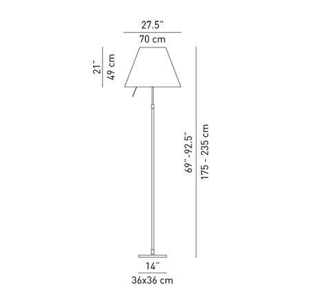 Luceplan Grande Costanza Stehleuchte Teleleskopstange Dimmer Grafik
