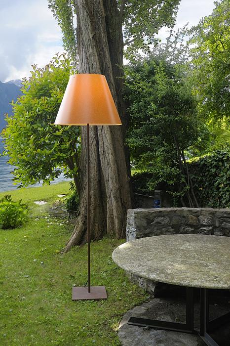 Luceplan Grande Costanza Open Air Schirm rostfarbig, Gestell und Fuß rostfarbig