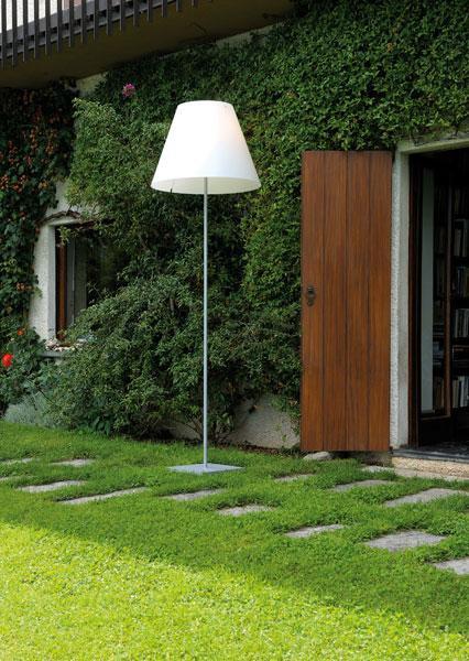 Luceplan Grande Costanza Open Air Schirm weiß, Gestell und Fuß Alu (Schirm nur als Zubehör)