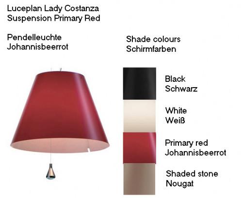 Luceplan Lady Costanza Pendelleuchte Schirmfarben