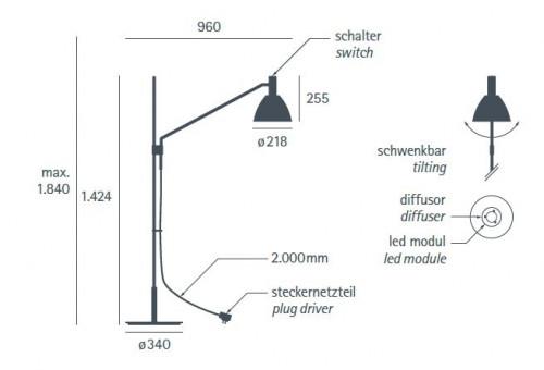 Lumini Bauhaus 90 F LED Grafik