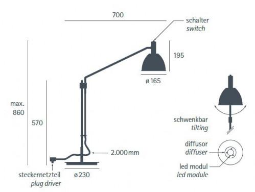 Lumini Mini Bauhaus 90 T LED Base Grafik