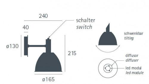 Lumini Mini Bauhaus 90 W1 LED Grafik