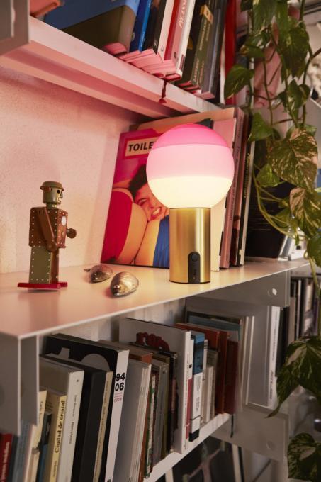 Marset Dipping Light Portable pink, Fuß Messing