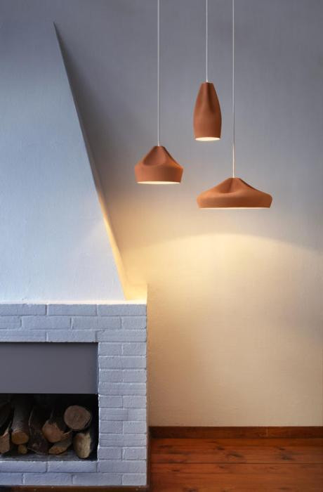 Marset Pleat Box 13 LED Version 8, terrakotta-gold (in der Mitte)