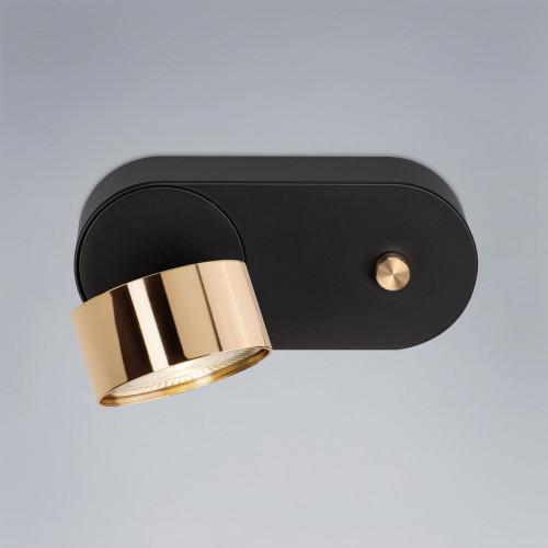 Mawa Wittenberg 4.0 Wandleuchte LED dim to warm Version 4, schwarz mit Messing-Leuchtenkopf
