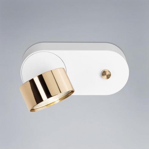 Mawa Wittenberg 4.0 Wandleuchte LED dim to warm Version 3, weiß mit Messing-Leuchtenkopf