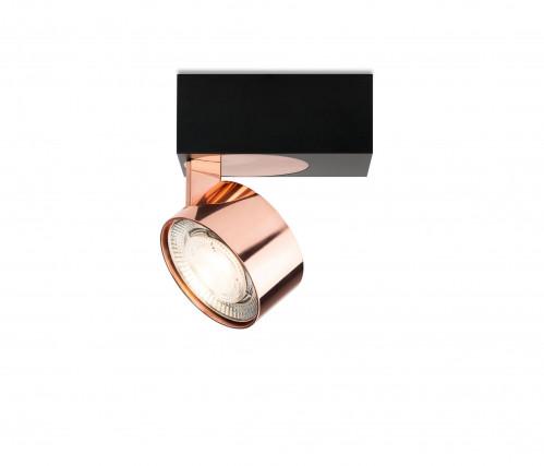 Mawa Wittenberg 4.0 Deckenleuchte asymmetrisch LED Version 4, schwarz mit Leuchtenkopf Kupfer