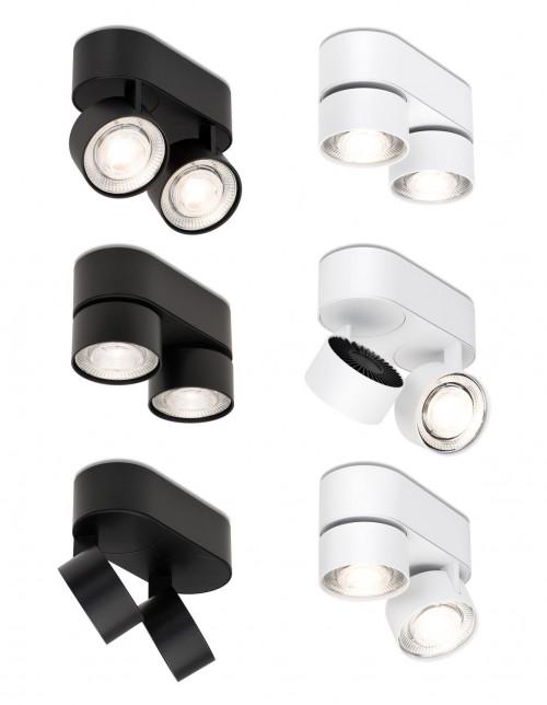 Mawa Wittenberg 4.0 Deckenleuchte oval 2-flammig LED schwarz und weiß