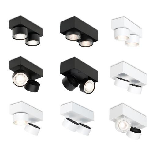 Mawa Wittenberg 4.0 Deckenleuchte halbbündig 2-flammig LED schwarz und weiß